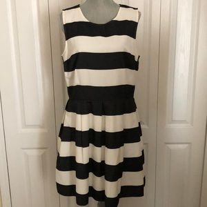 Black and white striped dress.